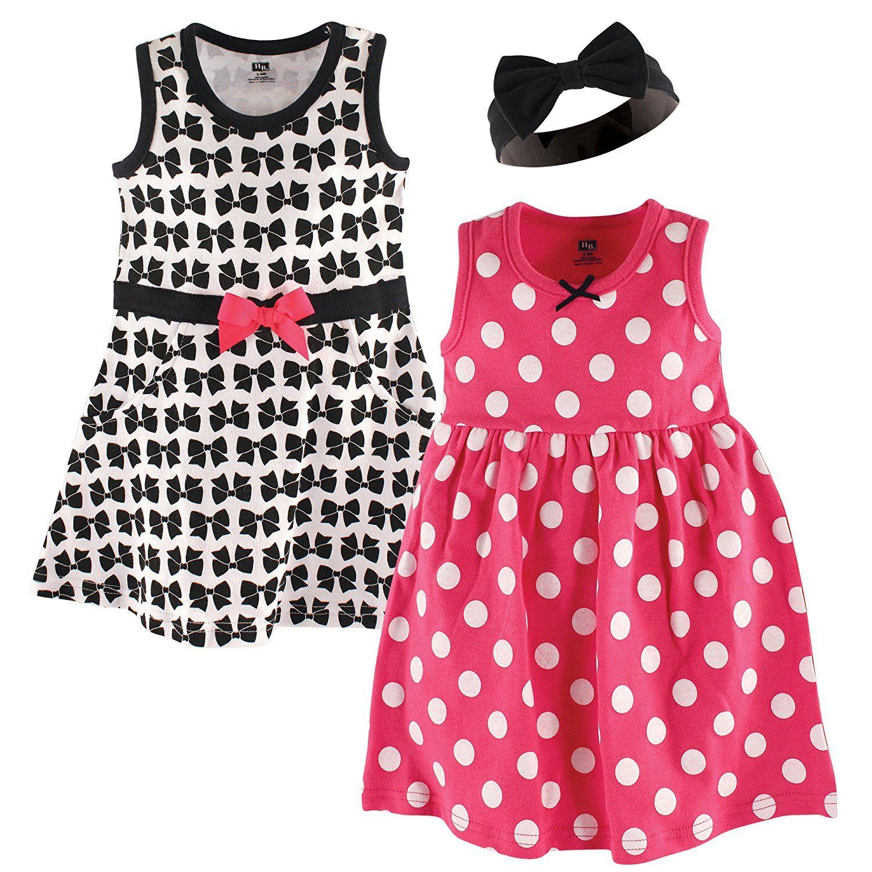 Amazon Hudson Baby Girls 3 Piece Dress and Headband Set