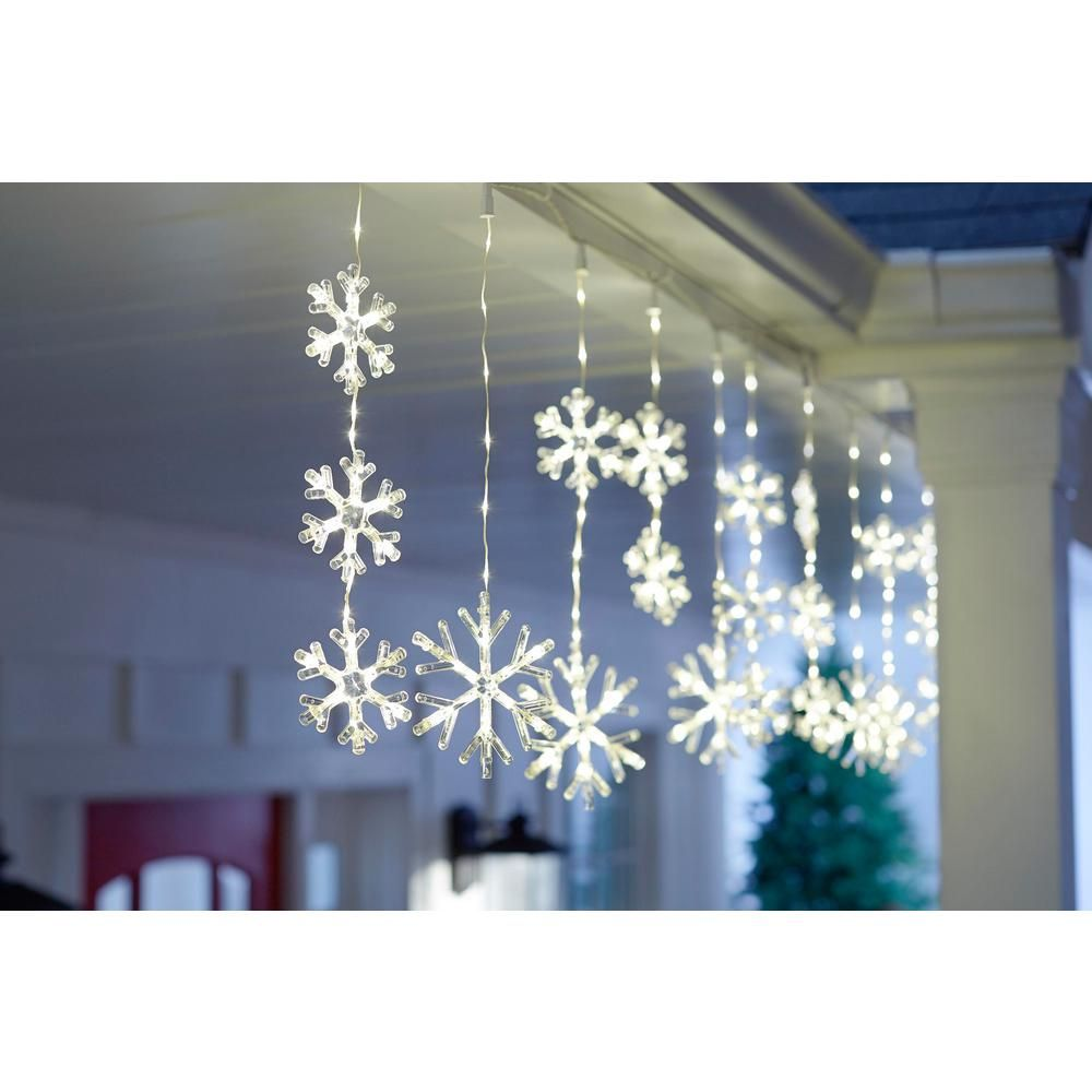 Home Accents Holiday 64 In 150 Light Warm White Micro Dot Led Snowflake Icicle Light W11m1742 The Home Depot Christmas Window Lights Christmas Lights Outside Icicle Christmas Lights