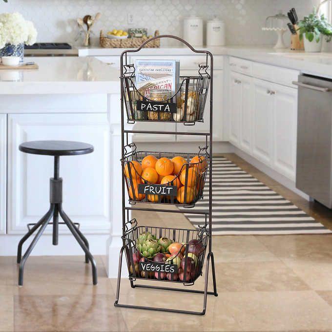 Rangement Fruits Et Légumes: Delaware Floor Standing 3-tier Basket