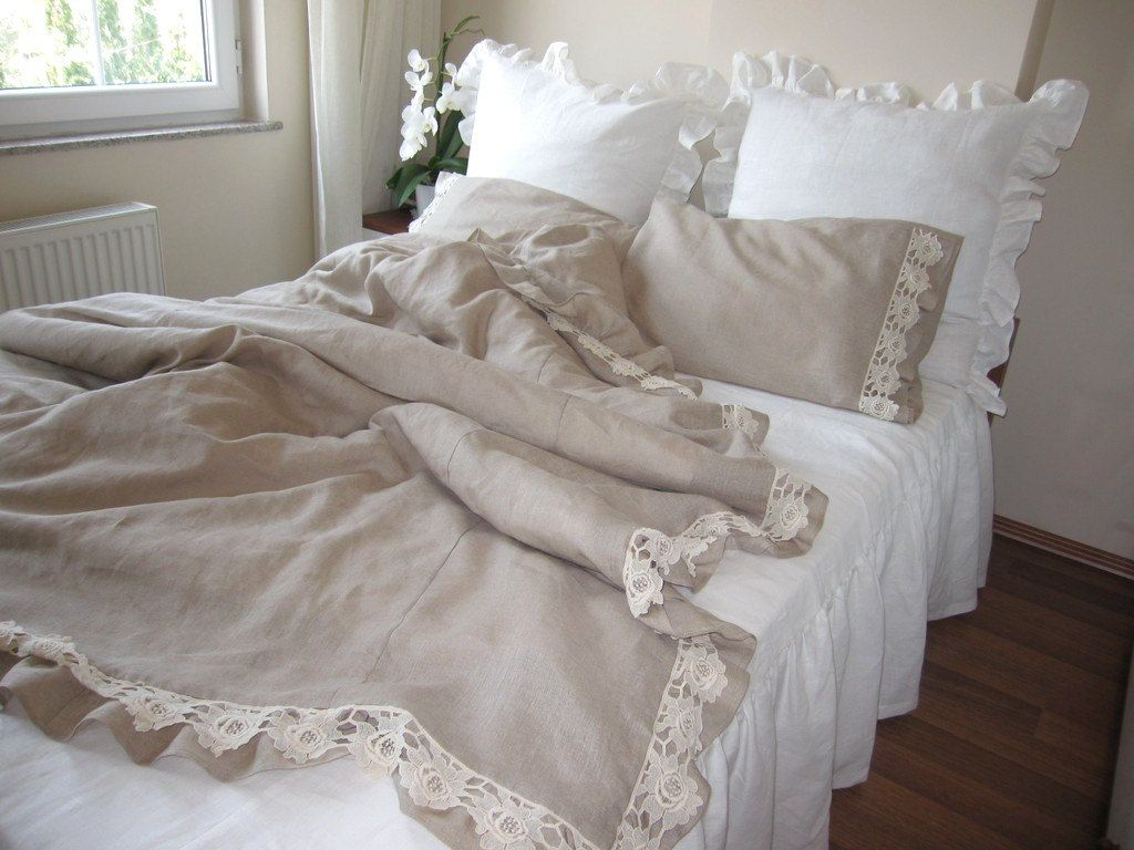 Attractive Taupe Camel Brown Linen Queen Duvet Cover Ruffle Bedding 2 Pillow Cases  Cotton Lace Trim Lace Fashion