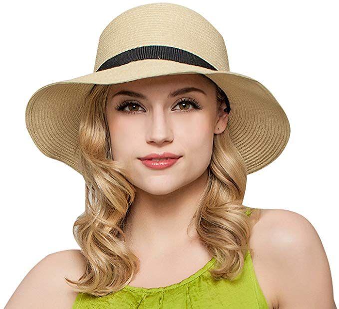 ce1820a3 Janrely Women Floppy Sun Beach Straw Hats Wide Brim Packable Summer Cap ( Beige) at Amazon Women's Clothing store:
