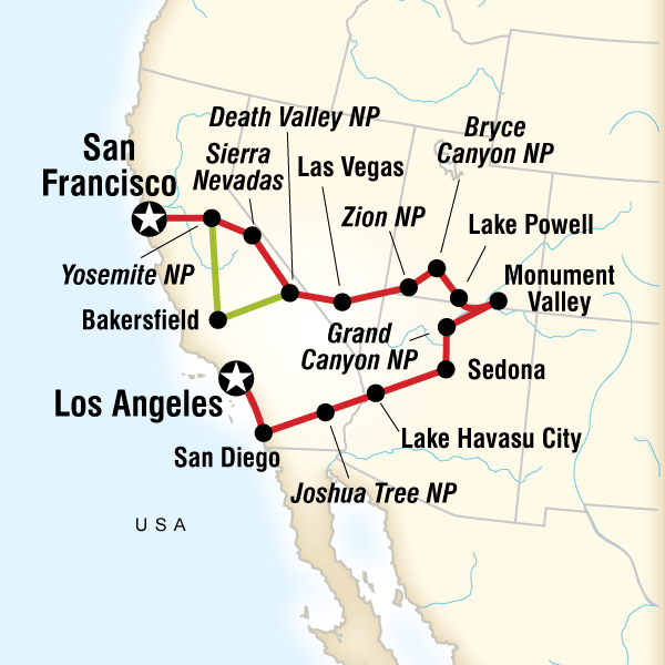 Map of the route for National Parks Bright Lights Travel plan