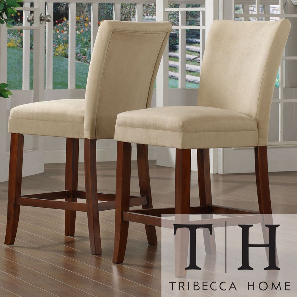 Set Of 4 Kitchen Counter Height Chairs With Microfiber: TRIBECCA HOME Parson Classic Cherry Peat Microfiber