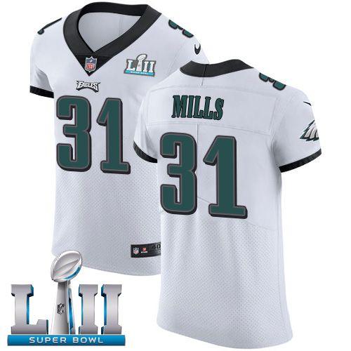 e4e394bcd Nike Eagles  31 Jalen Mills White Super Bowl LII Men s Stitched NFL Vapor  Untouchable Elite Jersey