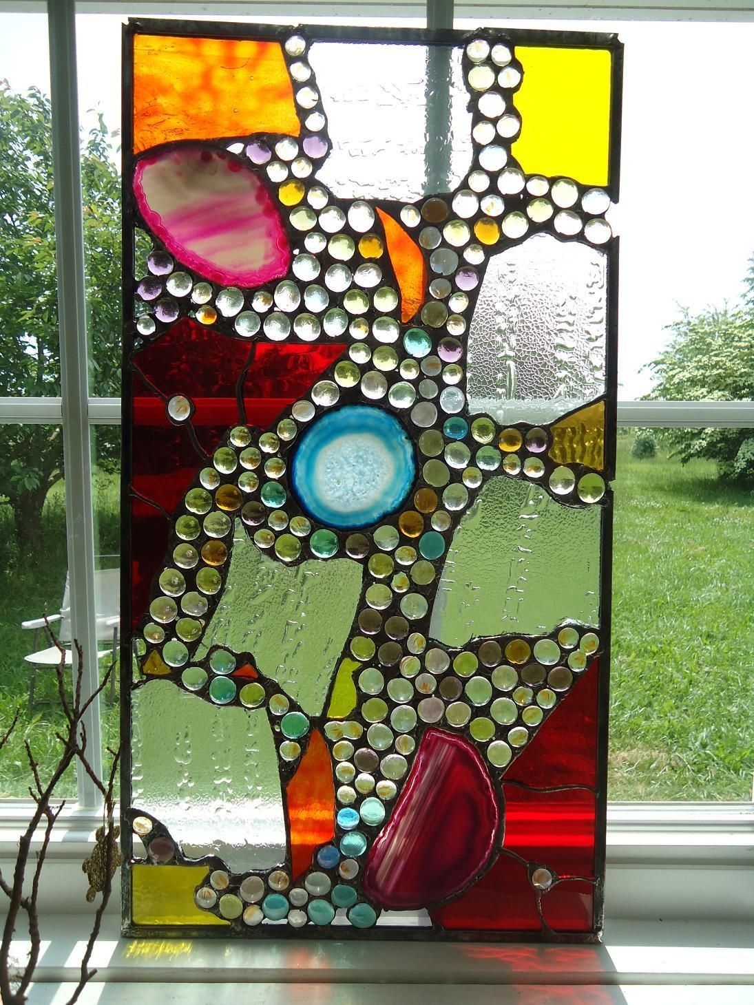 stained glass transom window agate nuggets suncatcher abstract panel