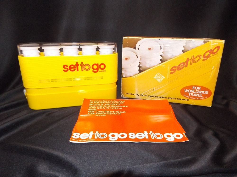 Vintage Clairol Set To Go 5 Hot Rollers Curlers Original Instructions Box K5-s  #Clairol