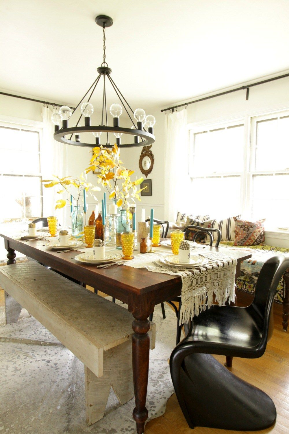 Eclectic Dining Room Fascinating Modern Vintage Eclectic Dining Room At Thanksgiving  Blogger Inspiration