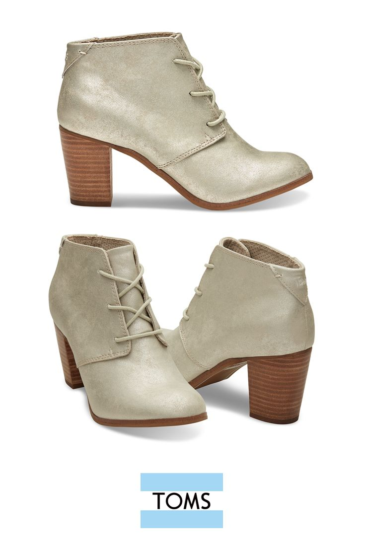 6a0dce10783 TOMS White Gold Metallic Synthetic Leather Women s Lunata Lace-up Booties  add a shiny element to your party look. Super comfortable with a cushioned  insole ...
