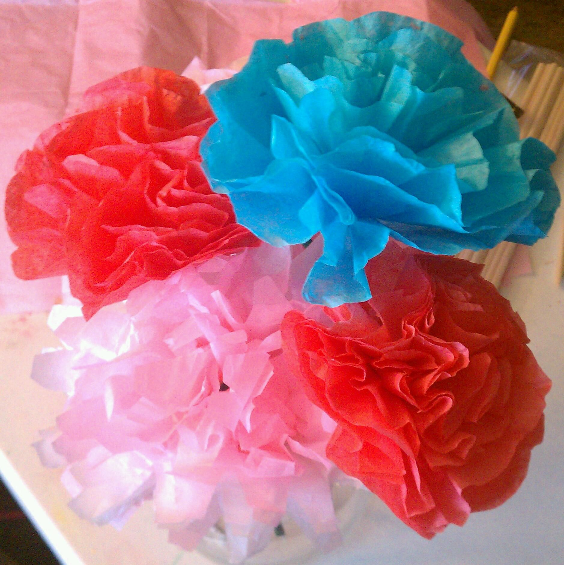 Flowers Made Out Of Colored Tissue Paper Coffee Filters Used Kool