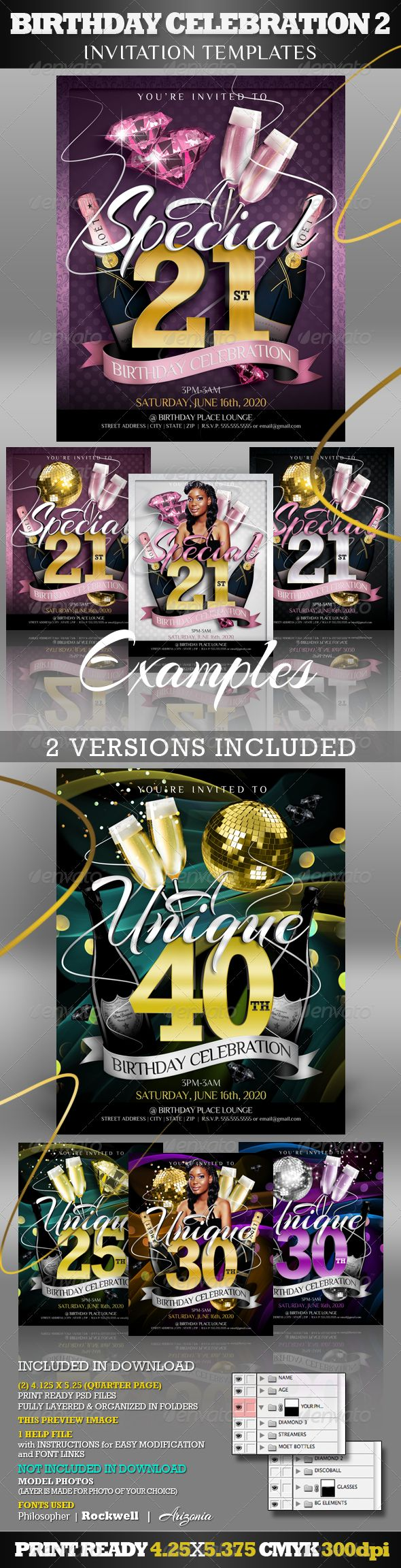 Birthday Invitation Templates 2 Club Flyer Style – Birthday Invitation Flyer Template