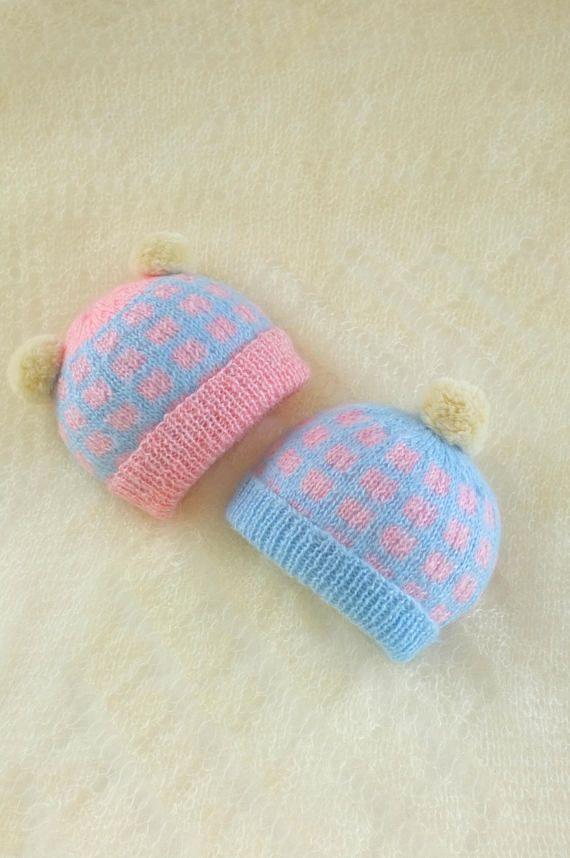 Newborn Twins Hats Baby Girl Baby Boy Beanie With Pom Pom Newborn ... 85d8ec90fab1
