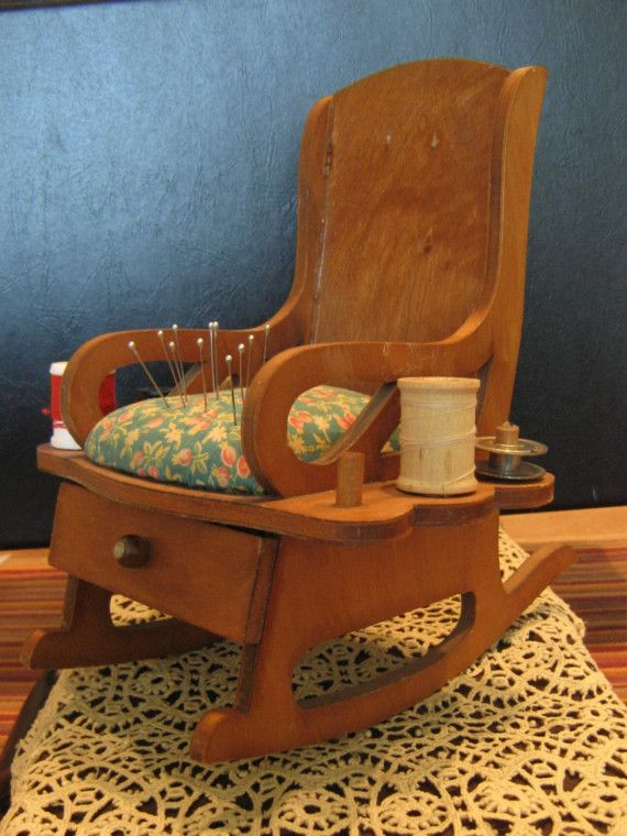 Vintage Rocking Chair Pin Cushion And Thread By