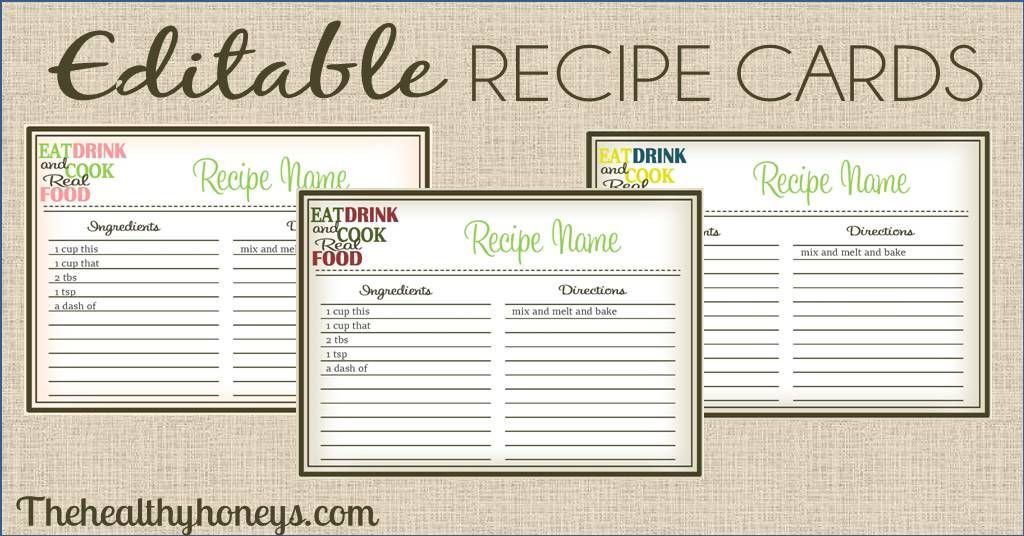 Real Food Recipe Cards Diy Editable The Healthy Honey S Recipe Cards Template Recipe Cards Recipe Book Templates