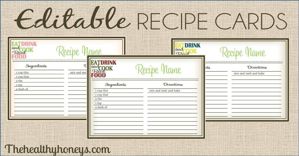 Real Food Recipe Cards Diy Editable The Healthy Honey S Recipe Cards Template Editable Recipe Cards Recipe Cards