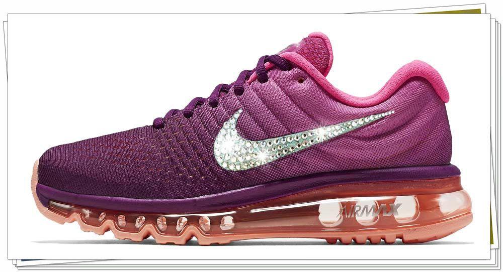 Spring Summer 2018 Popular 2018 New Arrivals Nike Air Max 2017 glitter  kicks Swarovski Crystal Swoosh Grape Pink 178eb7067c