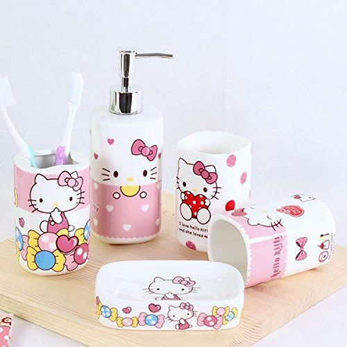 Brandream Cute Hello Kitty Bathroom Set Cartoon Ceramic Accessories 5pcs Details Can