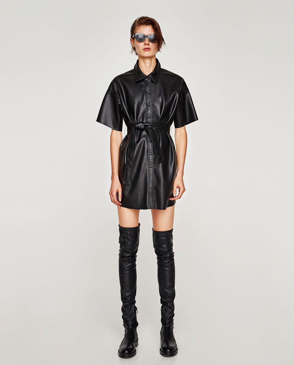 Image 1 Of FAUX LEATHER SHIRT DRESS From Zara