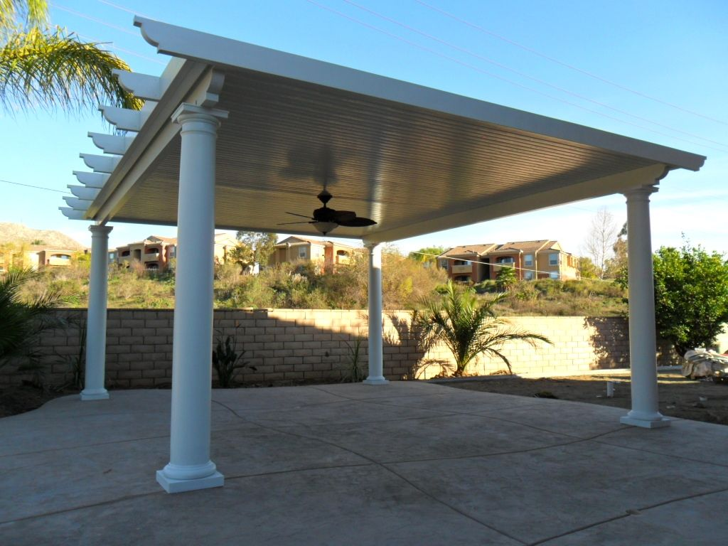 Free standing solid alumawood patio cover riverside ca for Freestanding patio cover