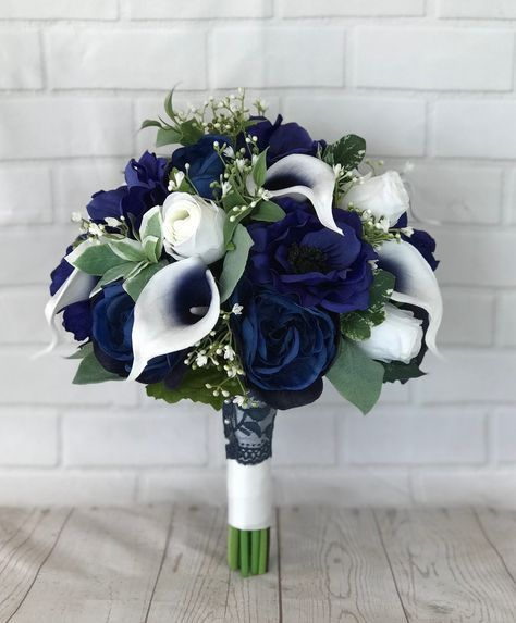 Navy bridal bouquet,Wedding bouquet,Bridal bouquet,Navy wedding flowers,Silk flowers,Wedding accessories,Calla lily bouquet,Something Blue #flowerbouquetwedding