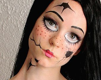 Broken Doll Temporary Costume Tattoos Makeup Dress Up Fantasy Makeup This Would Be A Doll Makeup Halloween Halloween Makeup Scary Doll Halloween Costume