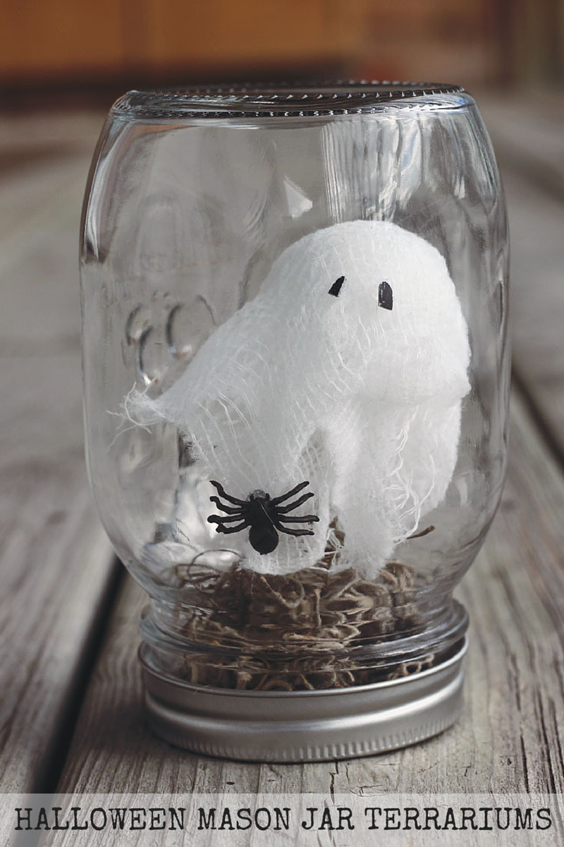 Halloween Mason Jar Terrariums | SoFawned.com {A fun and simple Mason jar #Halloween craft! You can make this entirely from items found at the dollar store!}
