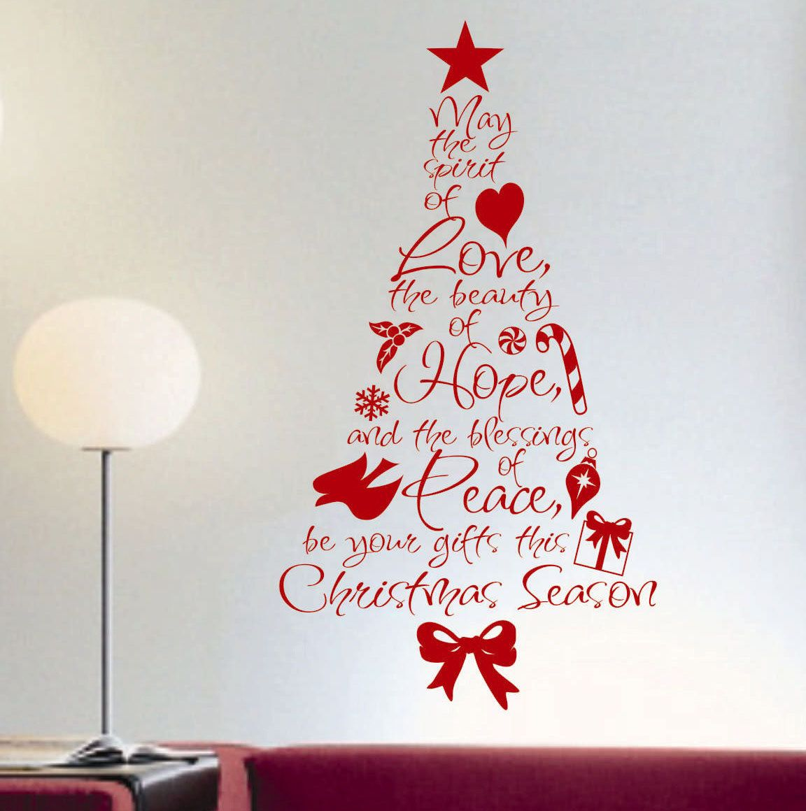 Christmas spirit of love word tree holiday decal by wallsthattalk