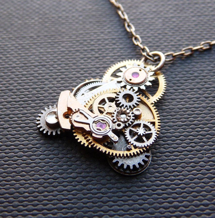 deviantart on gear by necklace steampunk pendant art