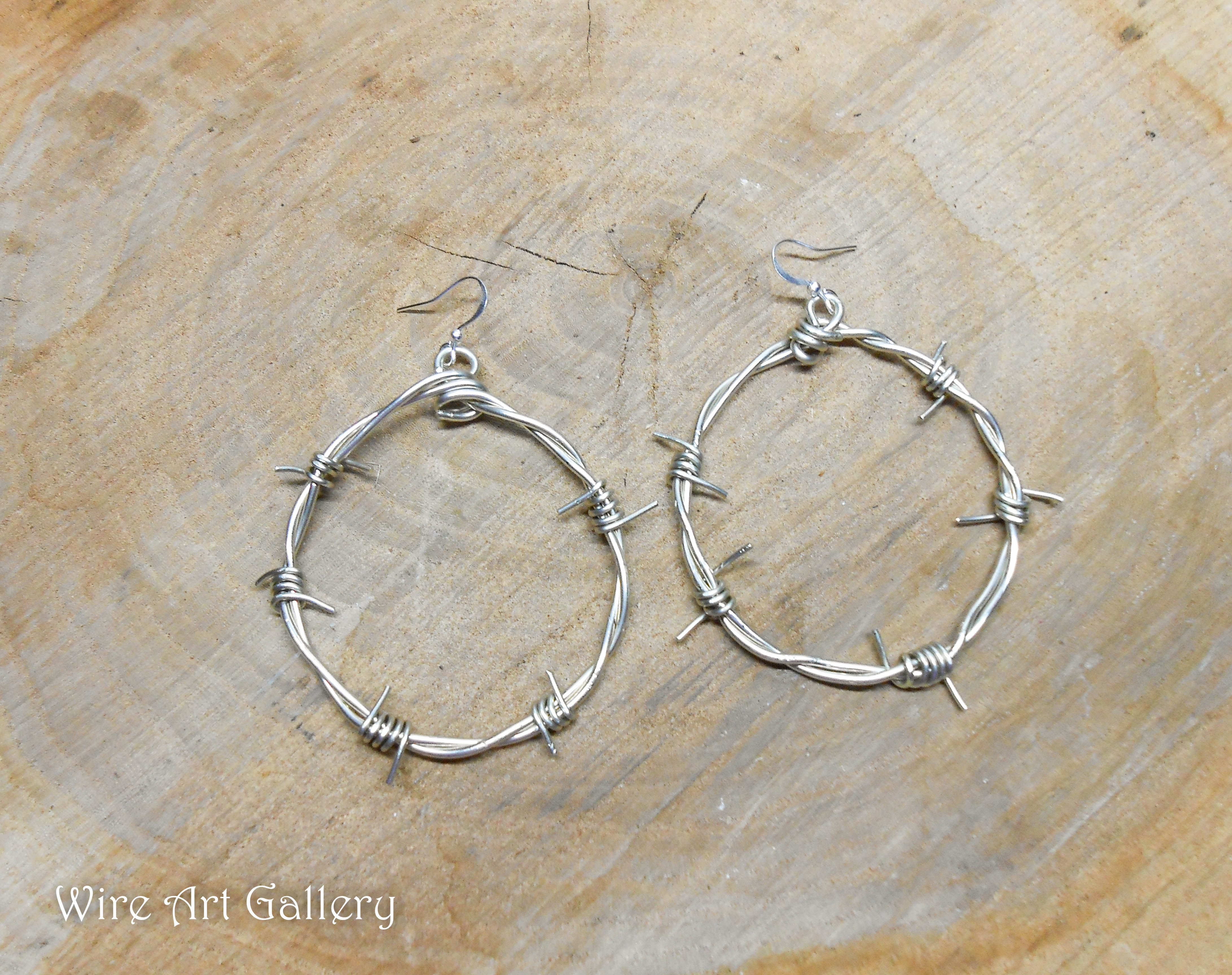 Barbed wire earrings / round hoop wire wrapped big earrings / Punk ...