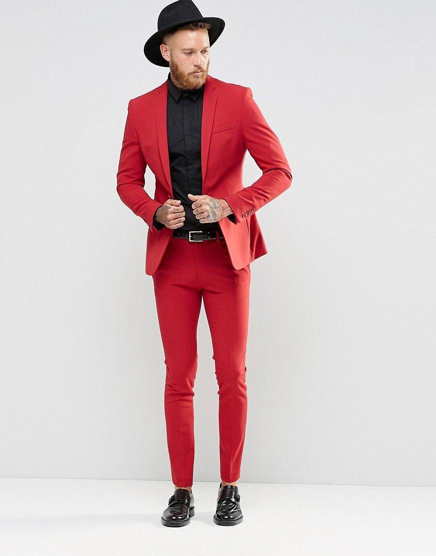 ASOS Super Skinny Fit Suit In Red | Suit ideas | Pinterest ...