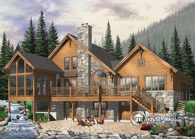 W3925 modern rustic chalet 3 to 5 bedrooms large for Chalet moderne plan