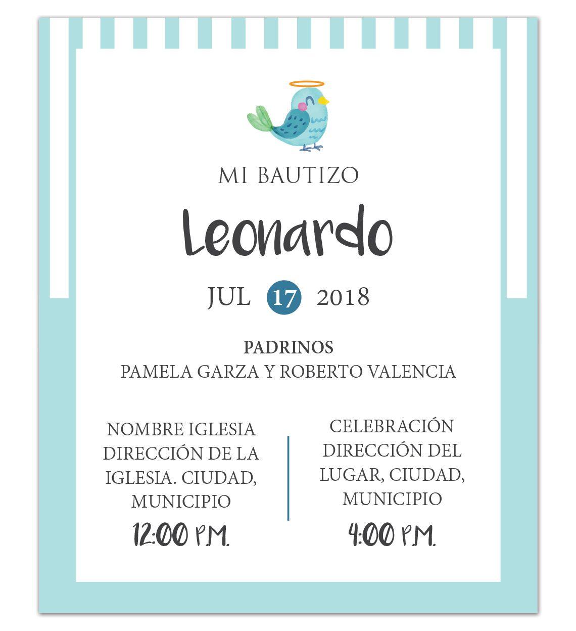 Diseño De Invitación Bautizo Blue Bird Invitaciones
