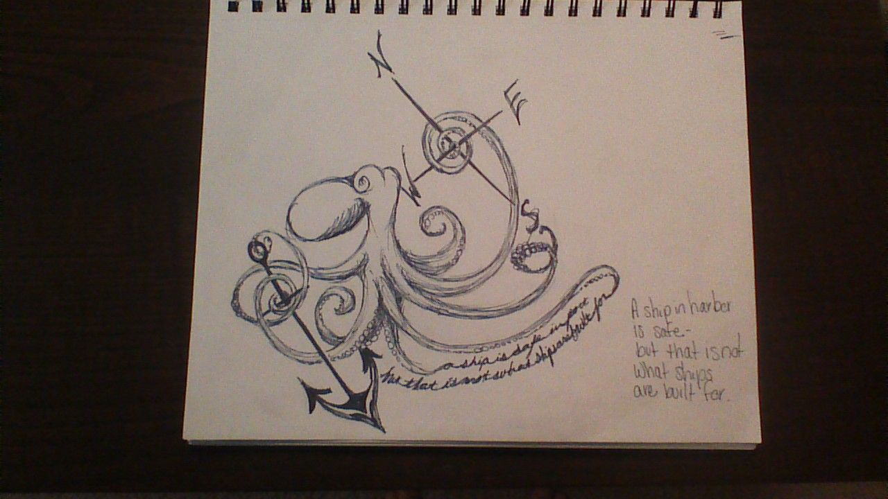 Rough sketch; Octopus, compass, and anchor tattoo idea