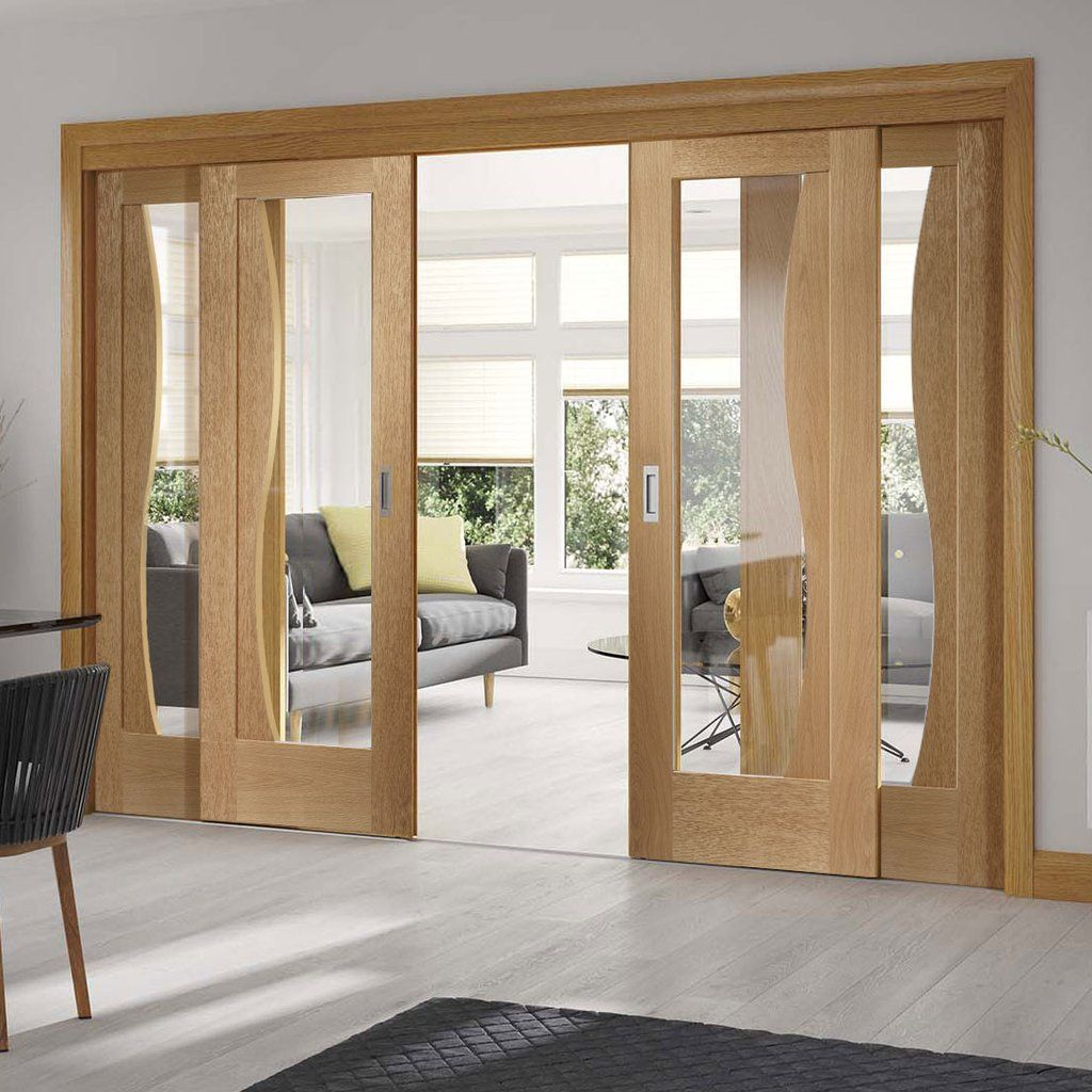Sliding Doors Of Glass: Easi-Slide OP1 Oak Emilia Sliding Door System With Clear