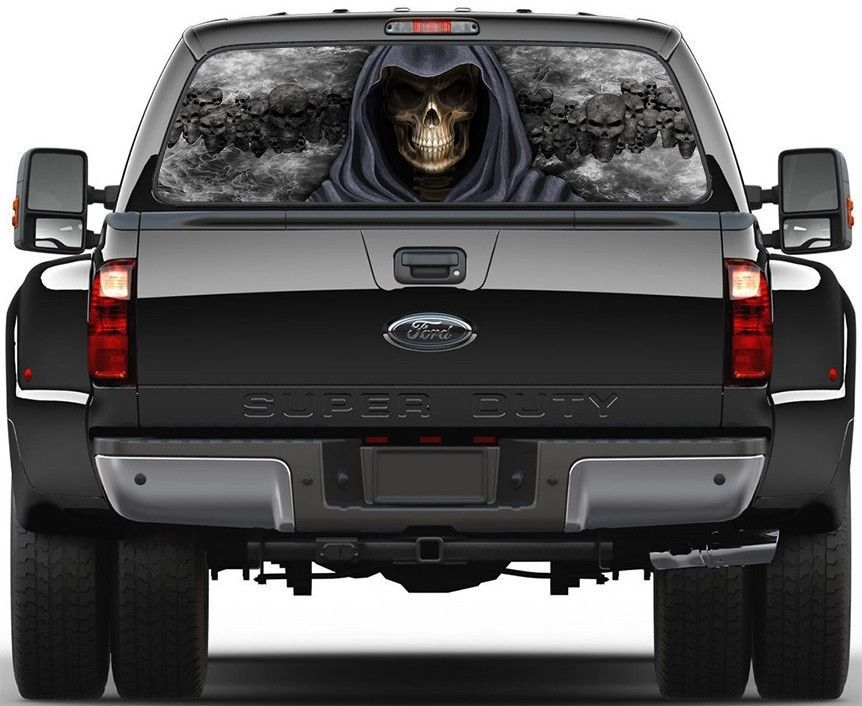 Grim Reaper Skulls Black Fire Flame 3 Rear Window Graphic Decal Sticker Truck Trucks Gmc Trucks Custom Trucks