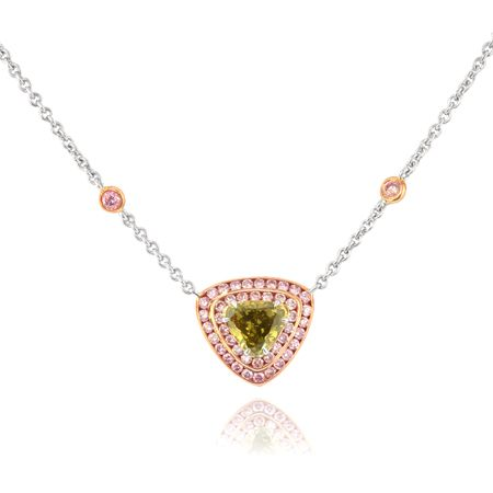 Fancy Deep Brownish Greenish Yellow Diamond Pendant