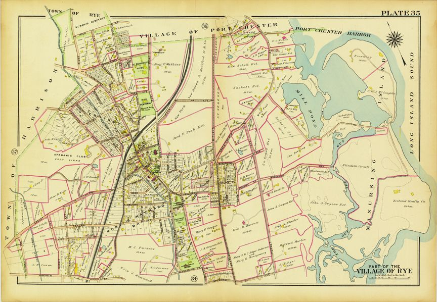 Vintage Map Of Rye Ny Postcard Map Of New York Map