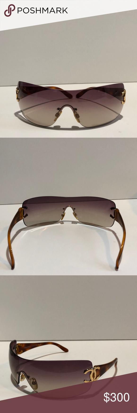 26c9c898d58a CHANEL Shield Sunglasses CHANEL Shield Sunglasses Brown Ombré Lens,  Frameless interlocking CC, and Tortoise