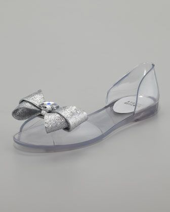 978bd88eb417 Gemini Glitter-Bow Jelly d  Orsay Flat by Stuart Weitzman at Neiman Marcus