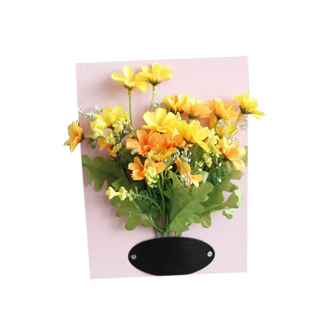 Wall Hanger Artificial Plant Flowers with Wood Board Wall Paintings ...