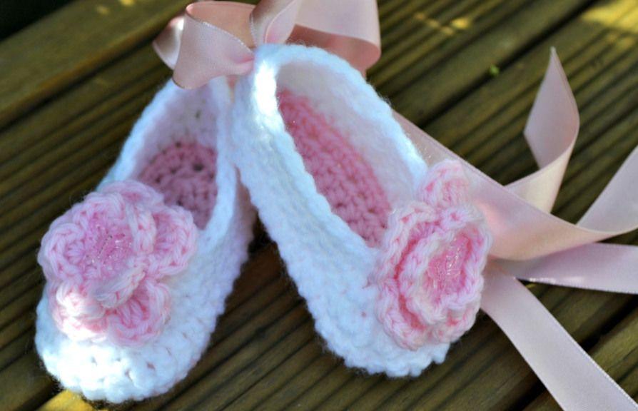 Baby ballet slippers | Crochet zapatos, Escarpines y Zapatos