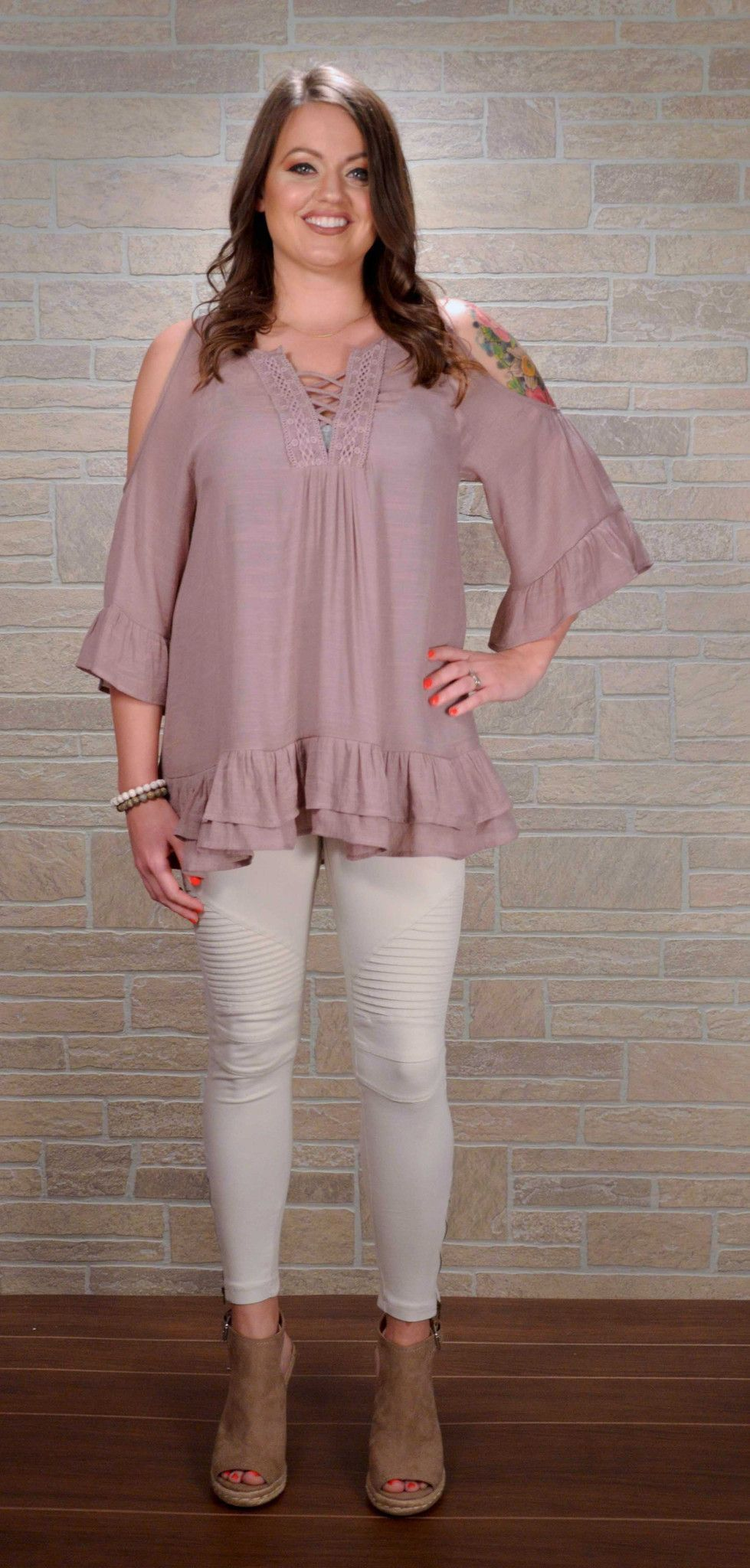 Mauve Cold Shoulder Top with Ruffles and Lace up Neckline