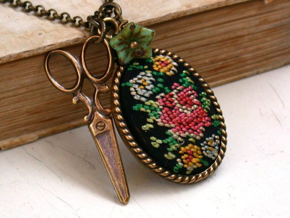 Vintage Original Petit Point Flower Bouquet Cameo by roomofyourown