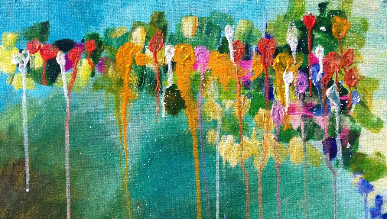 Abstract drip floral easy acrylic painting the art for Abstract watercolor painting tutorial