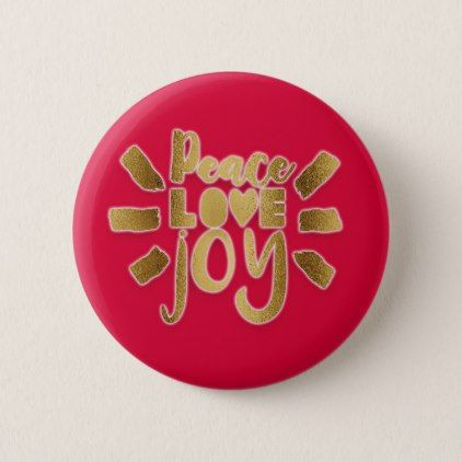 Red and gold peace love joy christmas gift pinback button negle Gallery