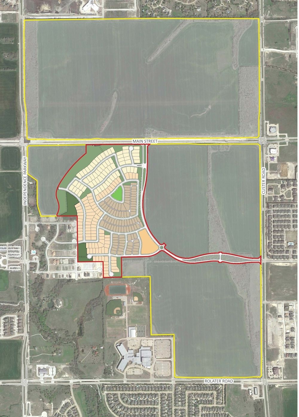 Newland's new Frisco community will be on Main Street west of Custer Road. (Newland)