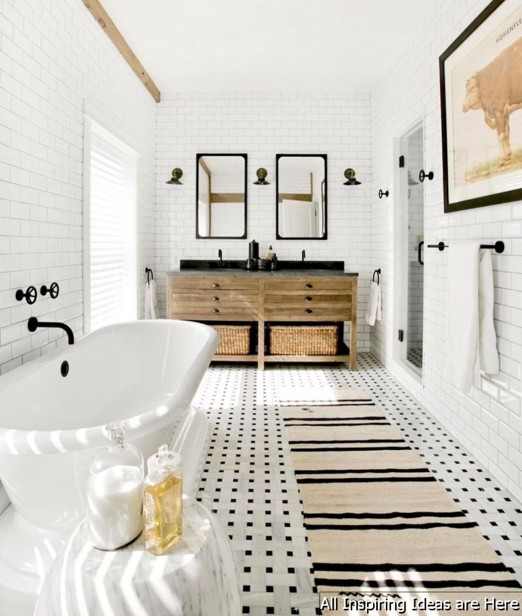 Minimalist modern farmhouse small bathroom decor ideas 1 | Modern ...