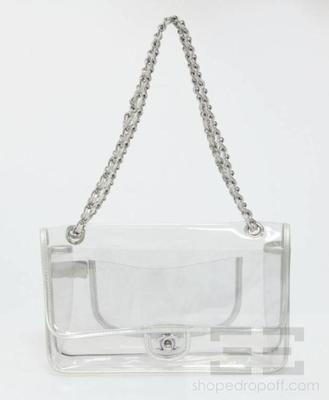cf54f3d11 Chanel Clear Vinyl & Metallic Silver Leather Trim Chain Strap Flap Bag