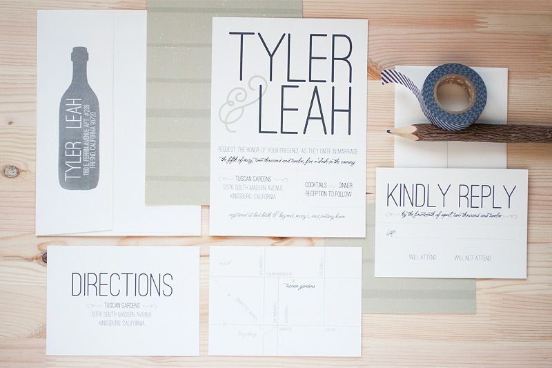 Modern Vineyard Wedding Invitations by Anastasia Marie Cards via Oh ...