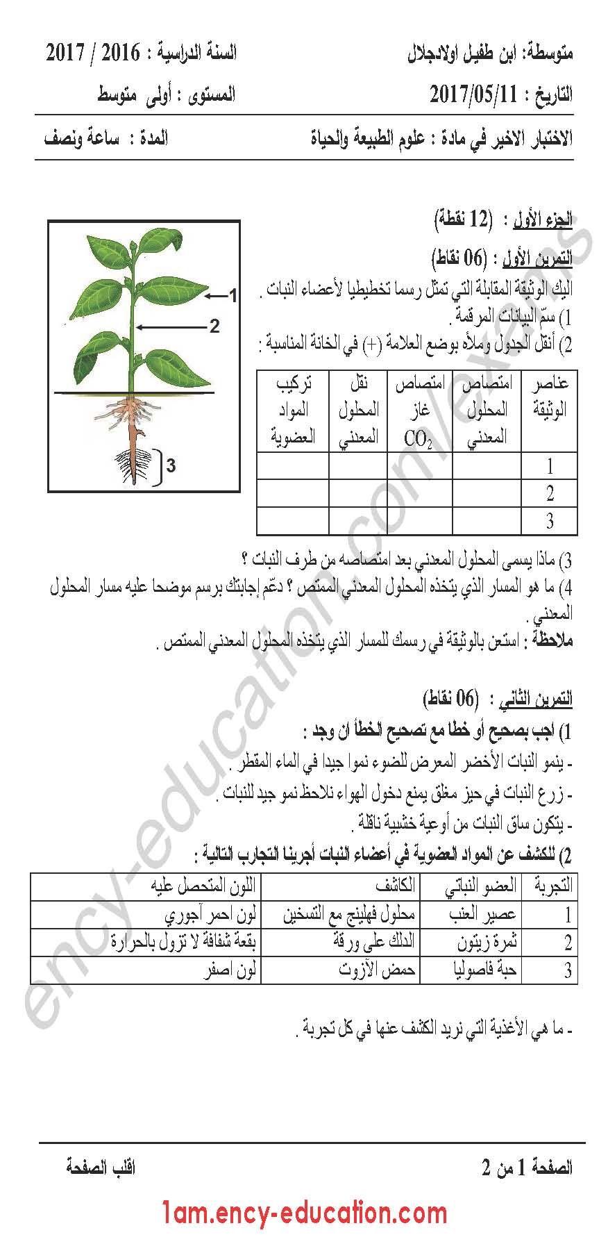 اختبار الثلاثي 3 علوم طبيعية 1 متوسط الموقع الأول للدراسة في الجزائر Plants Education