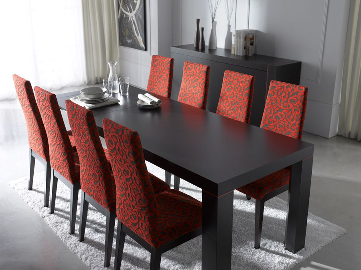 18 Innovative Ideas For Modern Dining Rooms : Charming Modern Dining Room  Design with Black Inessa Dining Table and Ada Red Floral Pattern D.